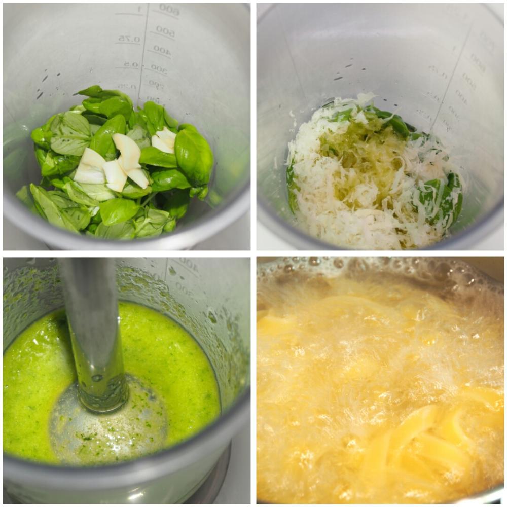 Fettuccini al pesto - Paso 1