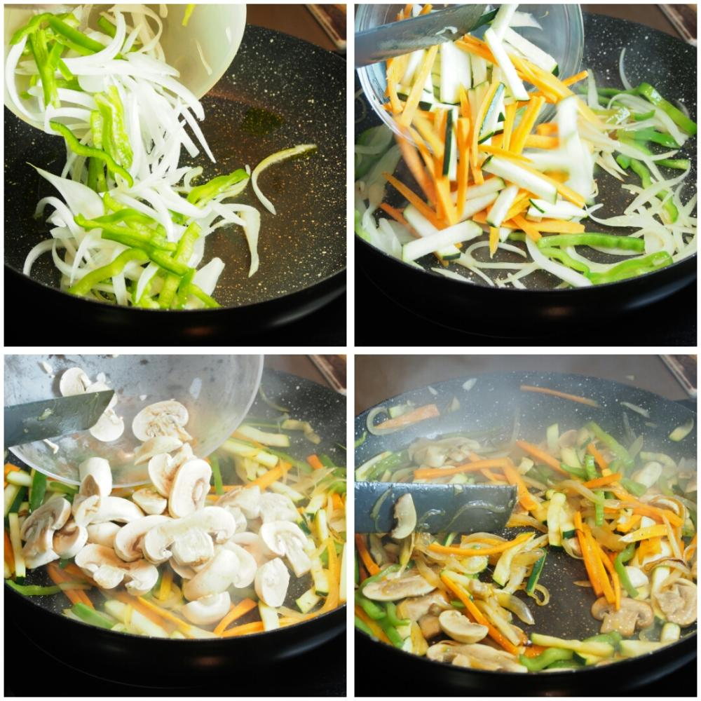 Salteado de noodles con gambas y verduras - Paso 3