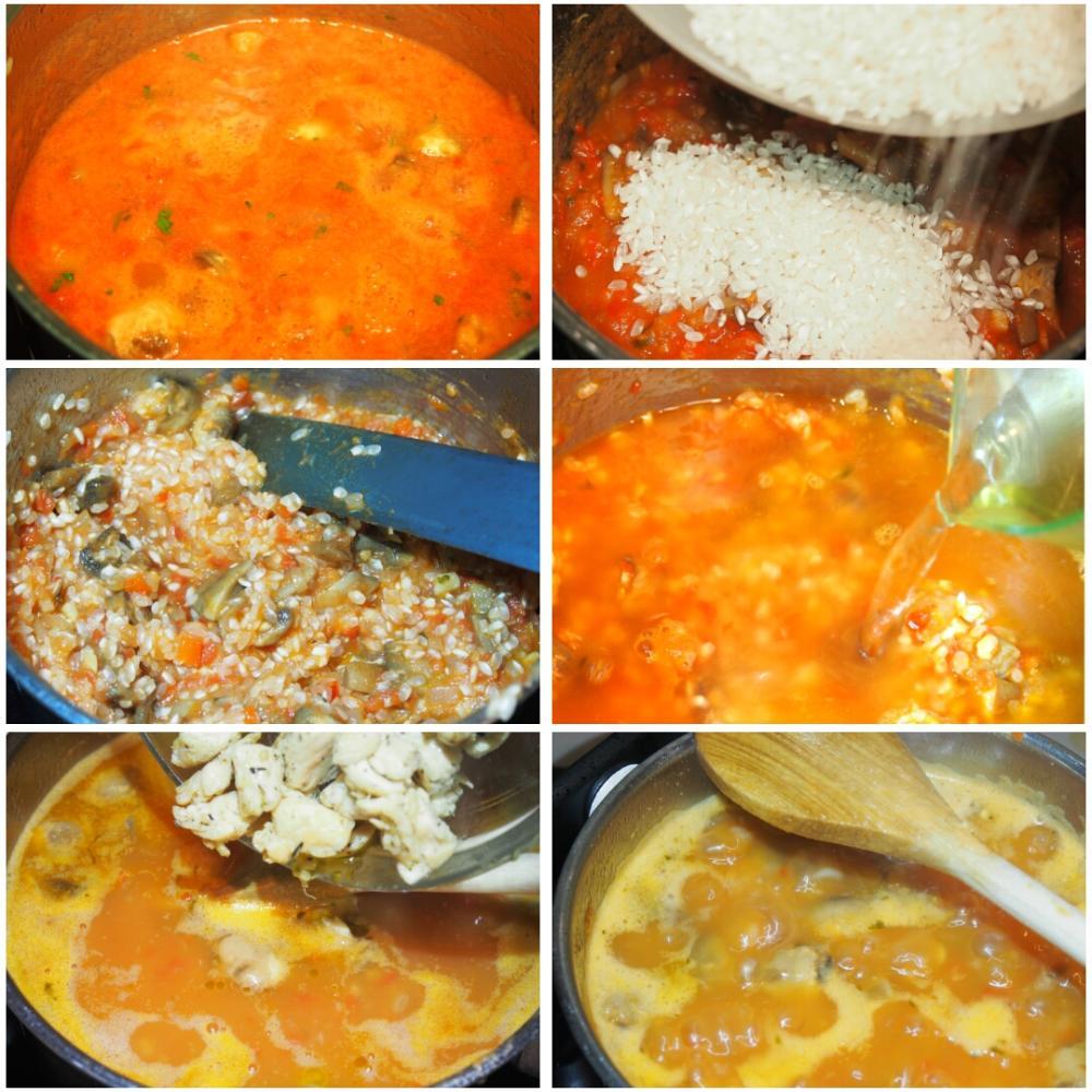 Arroz meloso de pollo y champiñones - Paso 3