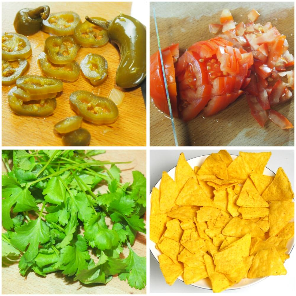 Nachos con queso y carne - Paso 1