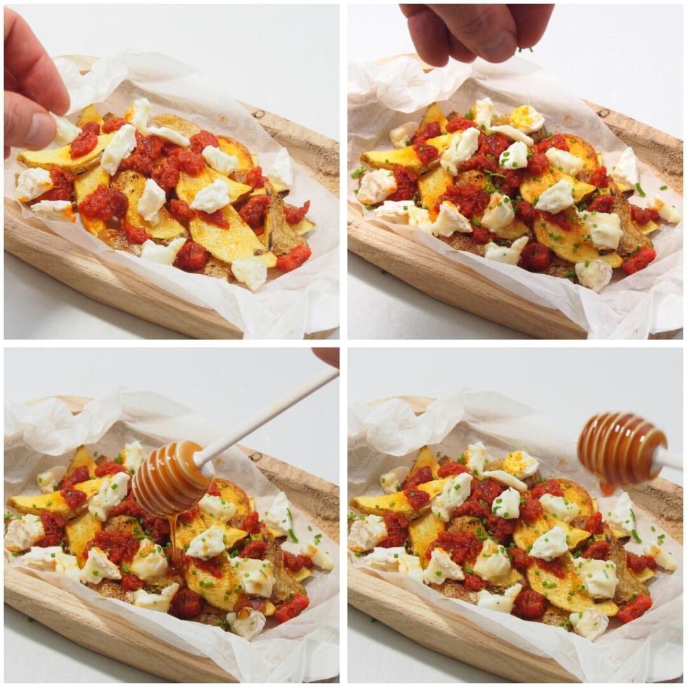 Patatas con sobrasada, queso de cabra y miel - Paso 3