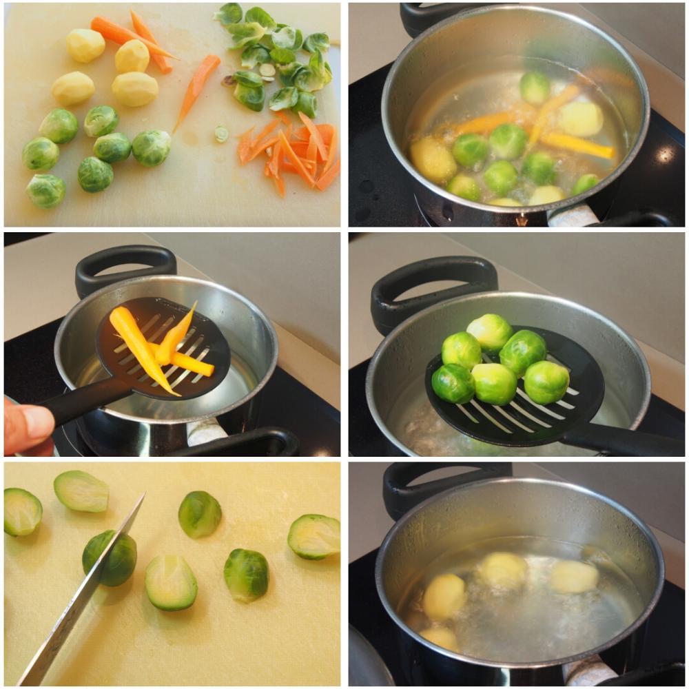 Lomos de lenguado en salsa velouté con verduras a la plancha - Paso 4