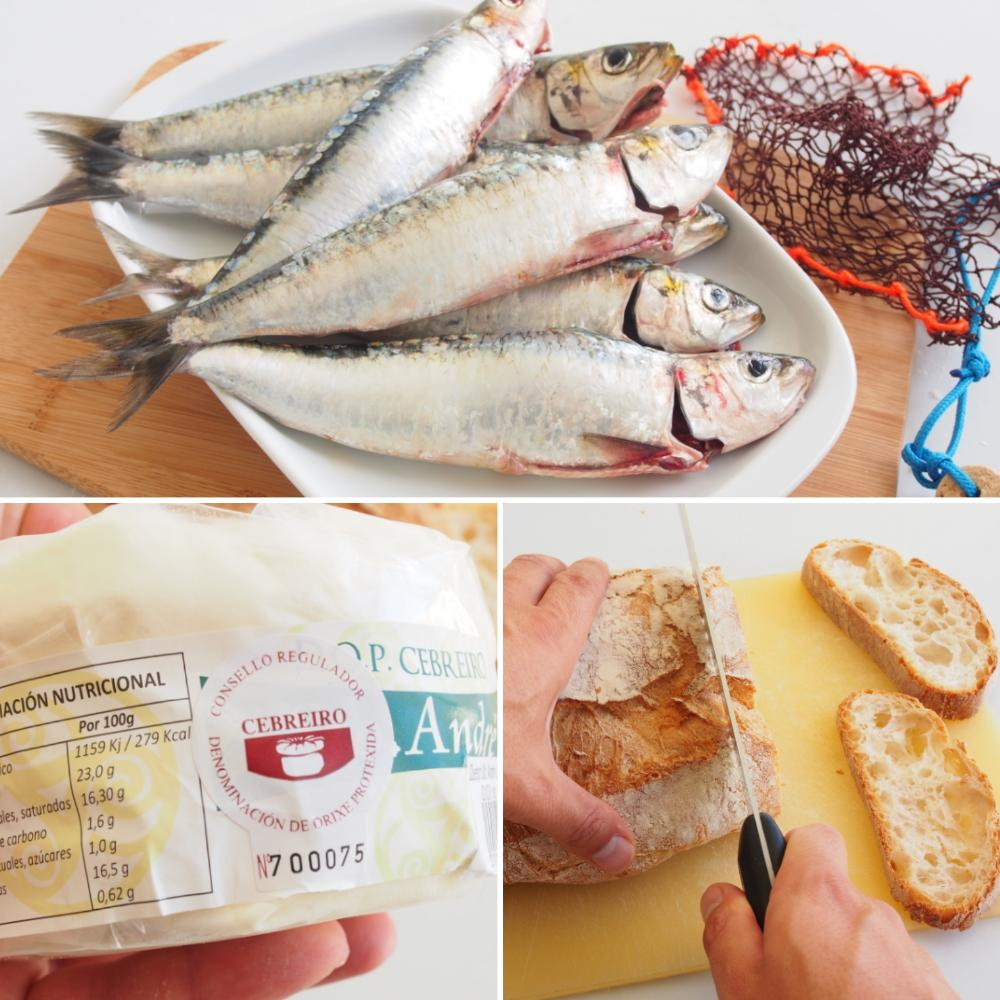 Tosta de sardina a la llama, mermelada de tomate y Queixo do Cebreiro - Paso 1