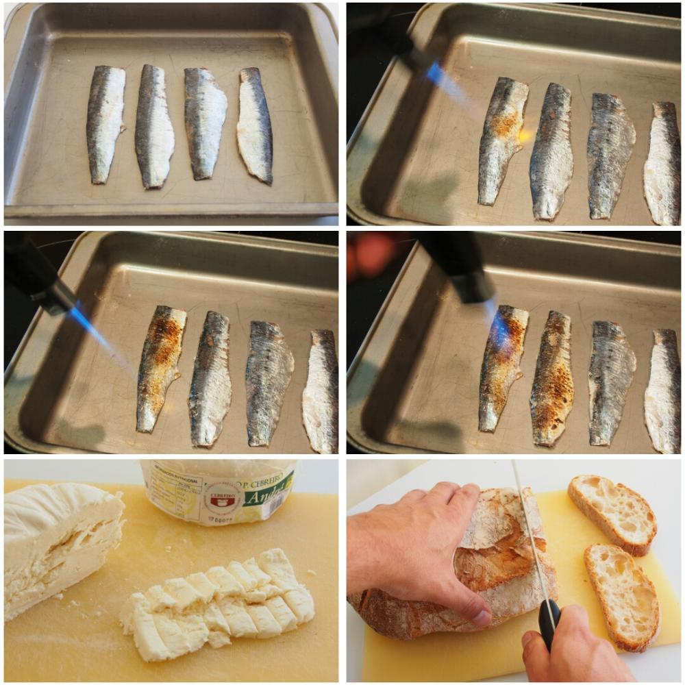 Tosta de sardina a la llama, mermelada de tomate y Queixo do Cebreiro - Paso 5