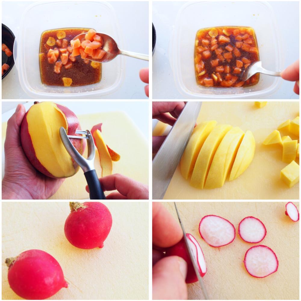 Salmón marinado en soja con mango y rabanitos - Paso 3