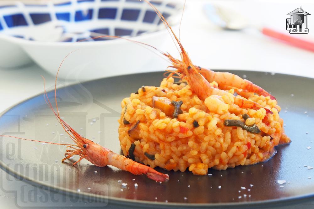 Arroz meloso de camarones gallegos, shiitake y alga codium