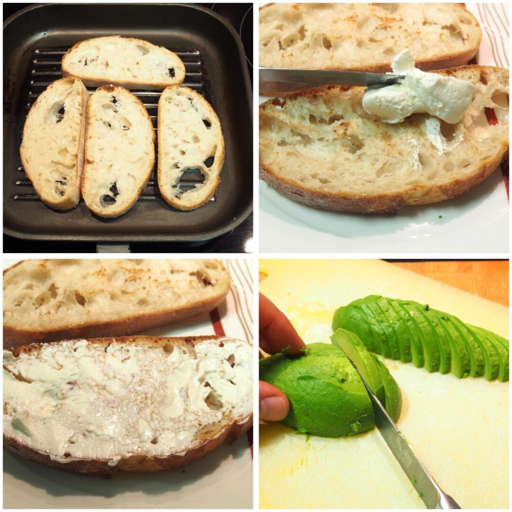 Tosta de salmón ahumado, aguacate y queso crema - Paso 1