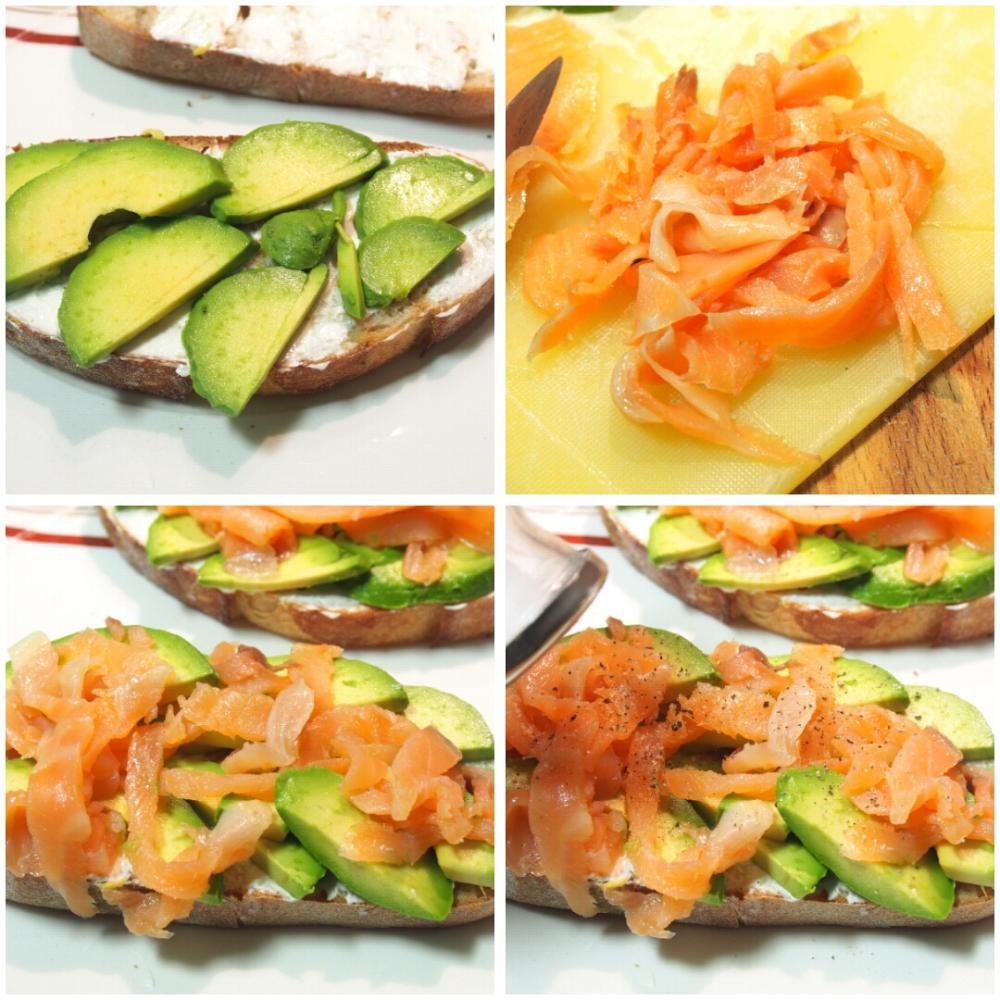 Tosta de salmón ahumado, aguacate y queso crema - Paso 2