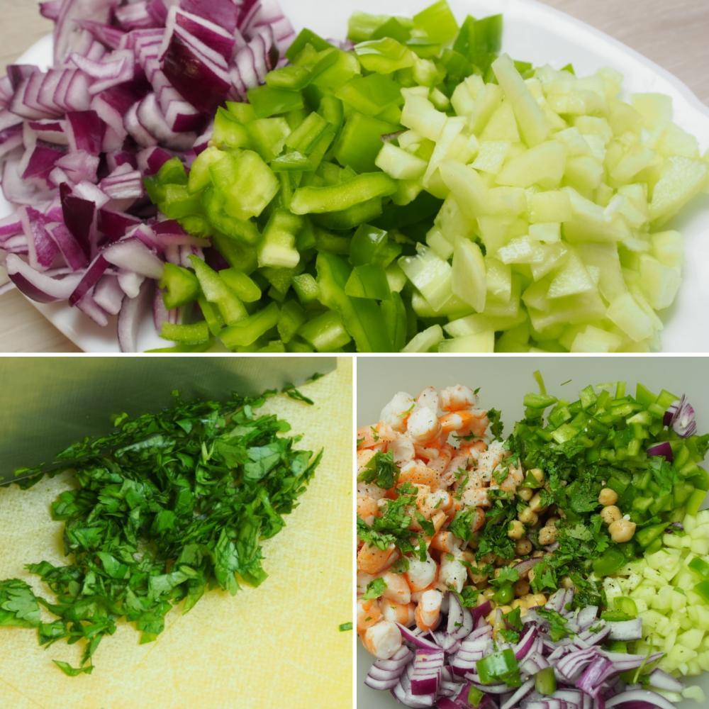 Ensalada de garbanzos con langostinos y cilantro - Paso 3