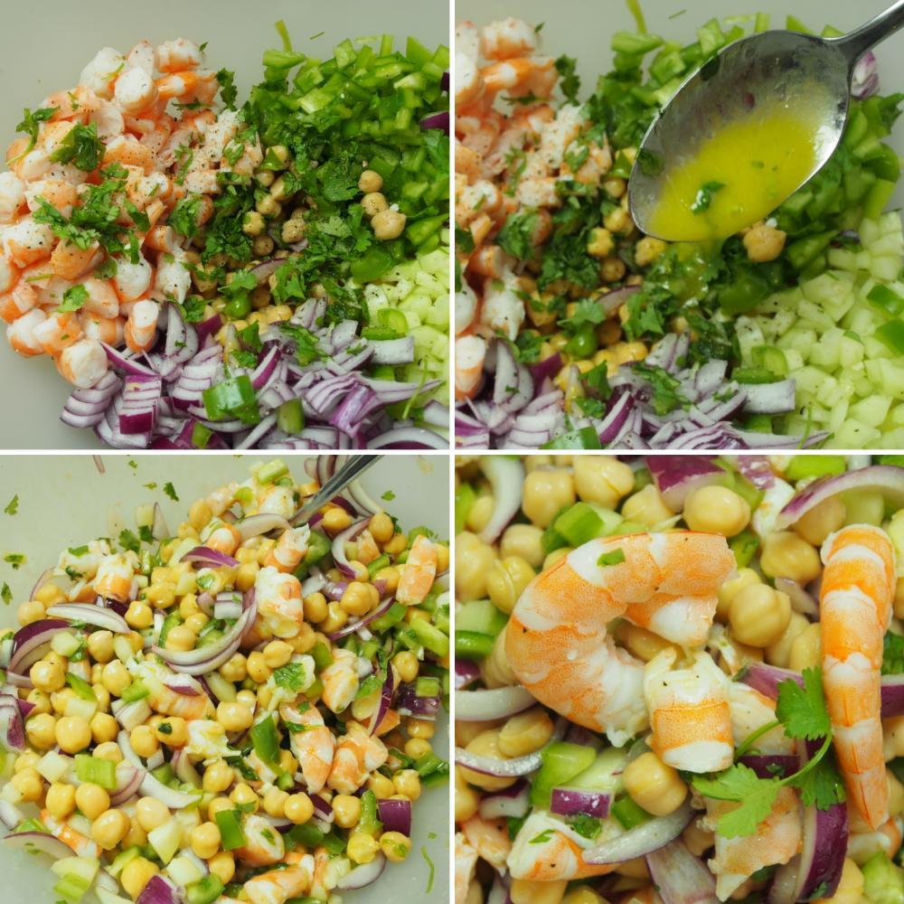 Ensalada de garbanzos con langostinos y cilantro - Paso 4