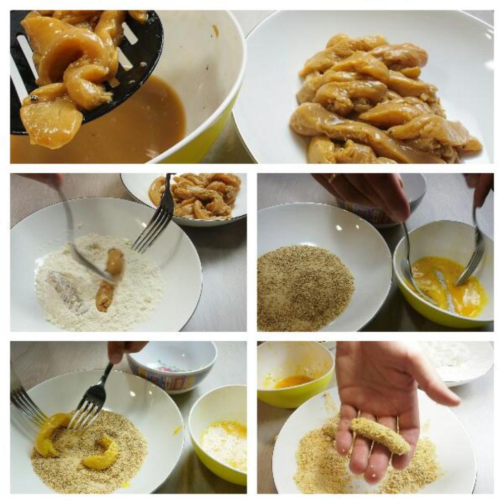 Crujientes de pollo marinado con mayonesa de curry - Paso 5