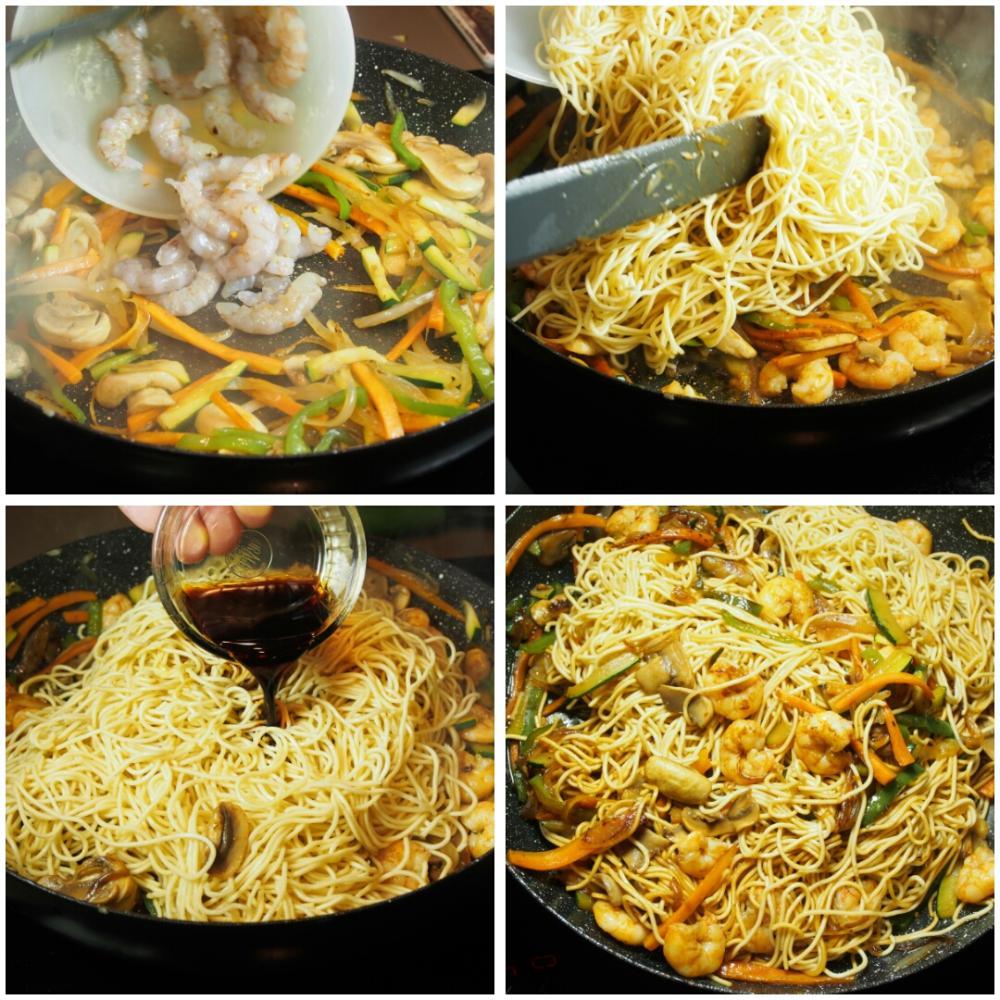 Salteado de noodles con gambas y verduras - Paso 4