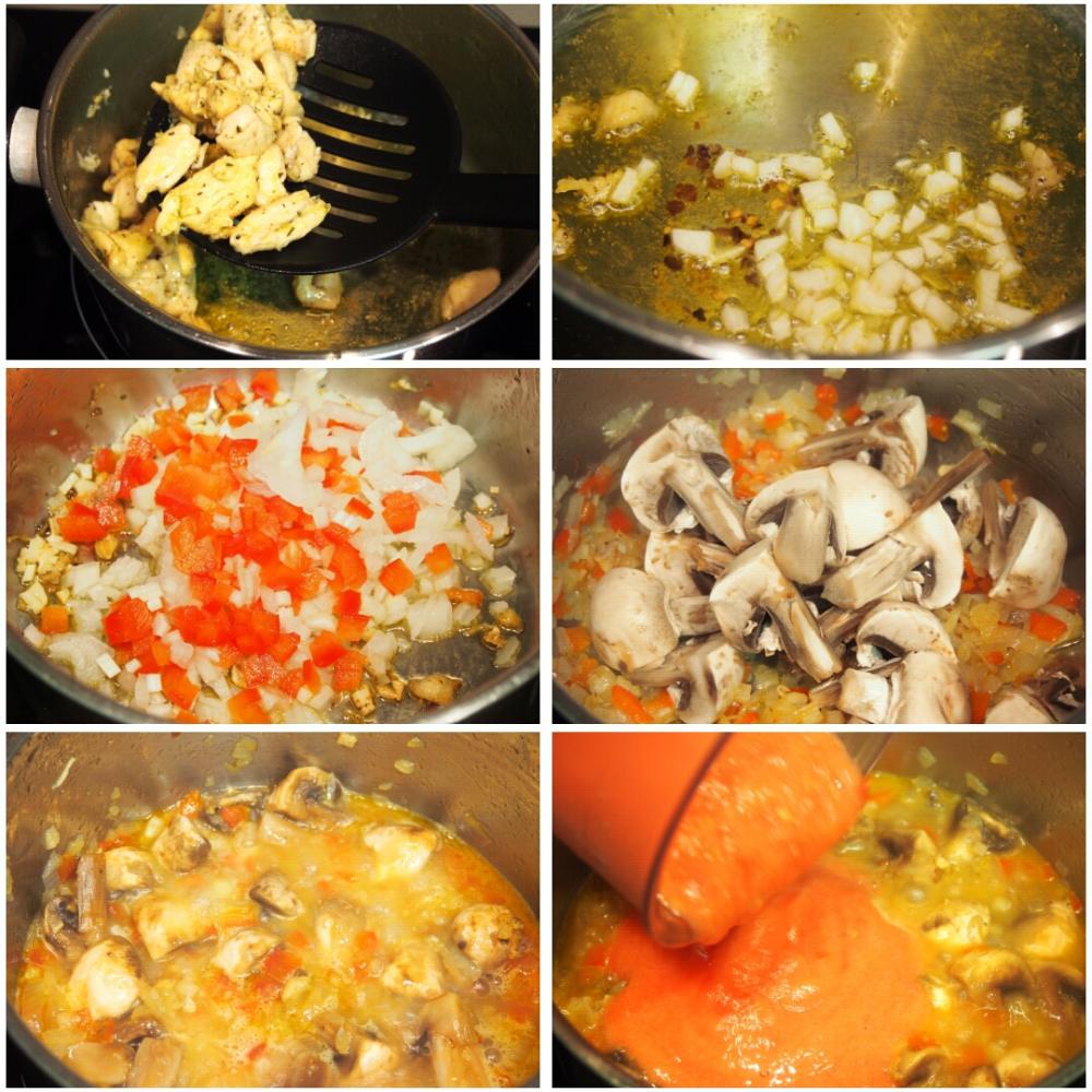 Arroz meloso de pollo y champiñones - Paso 2