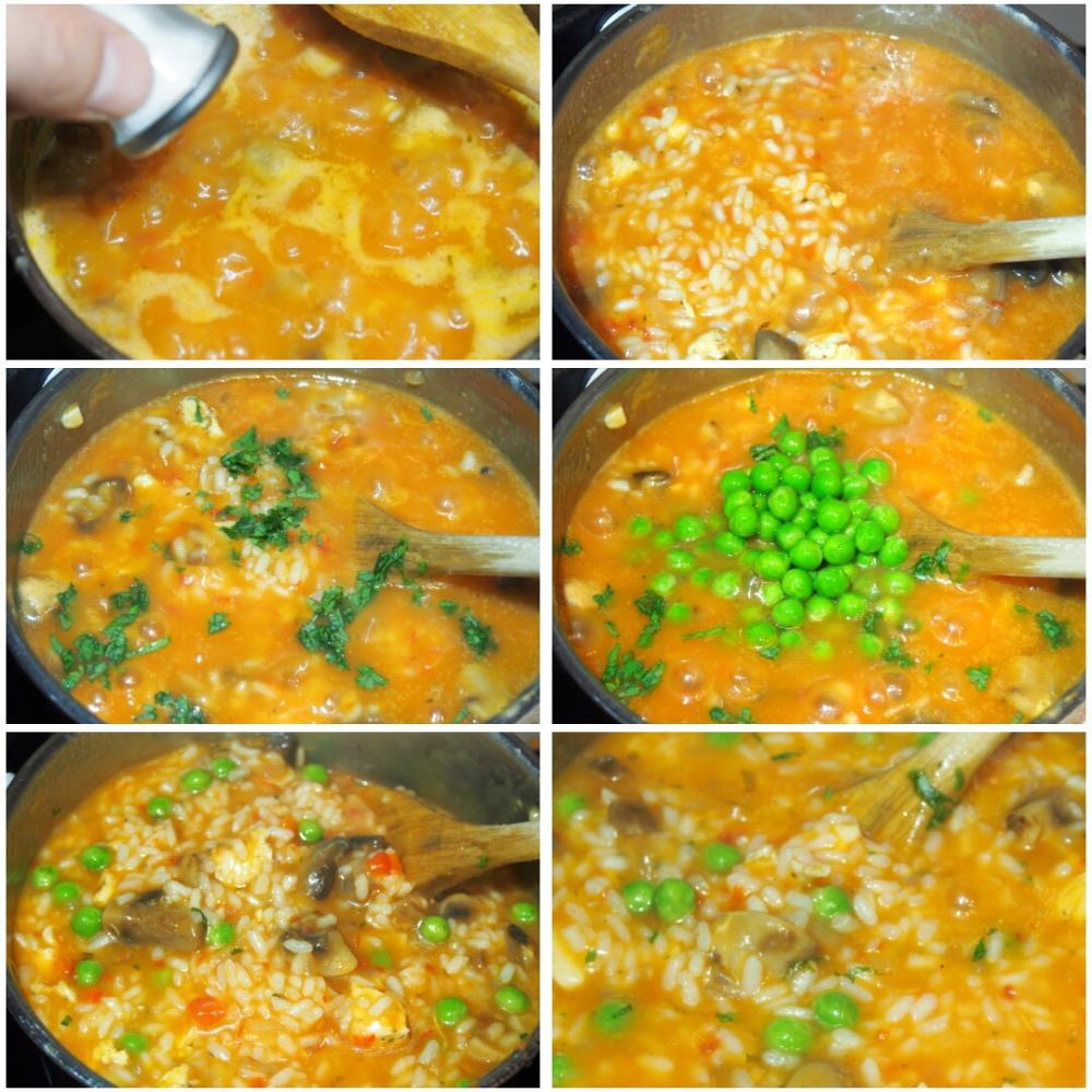 Arroz meloso de pollo y champiñones - Paso 4