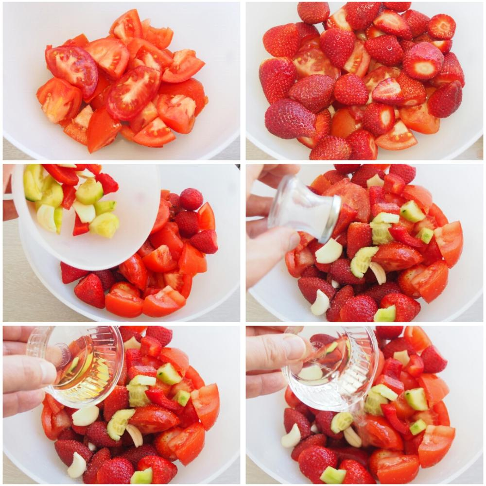 Gazpacho de fresas - Paso 1