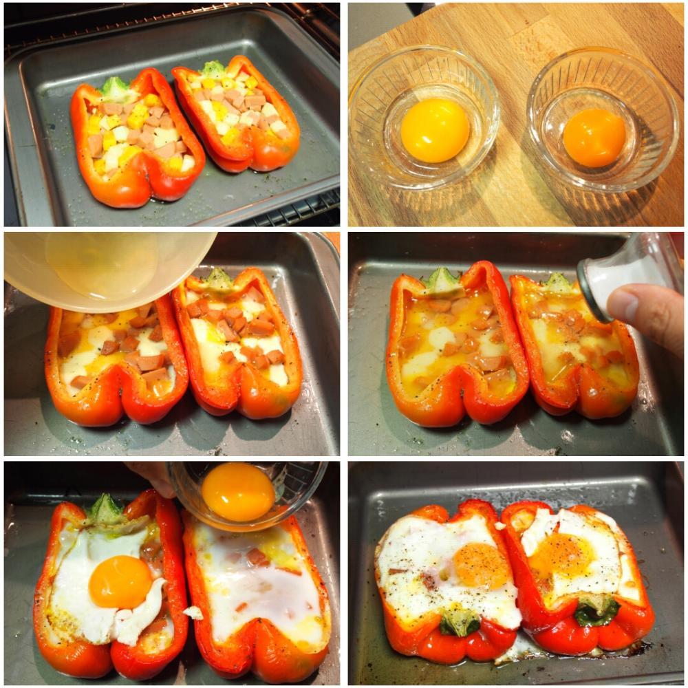 Pimientos rellenos con queso y huevo - Paso 3
