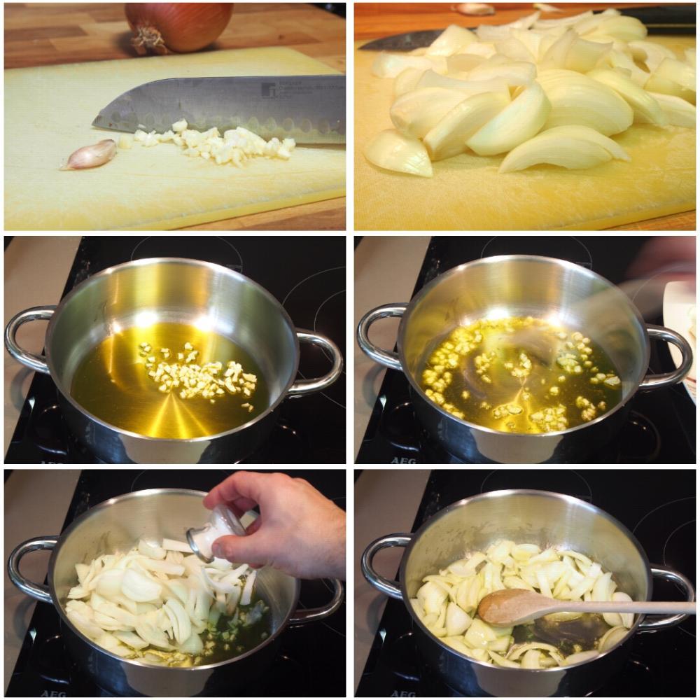 Pisto con huevo y crujiente de jamón - Paso 1