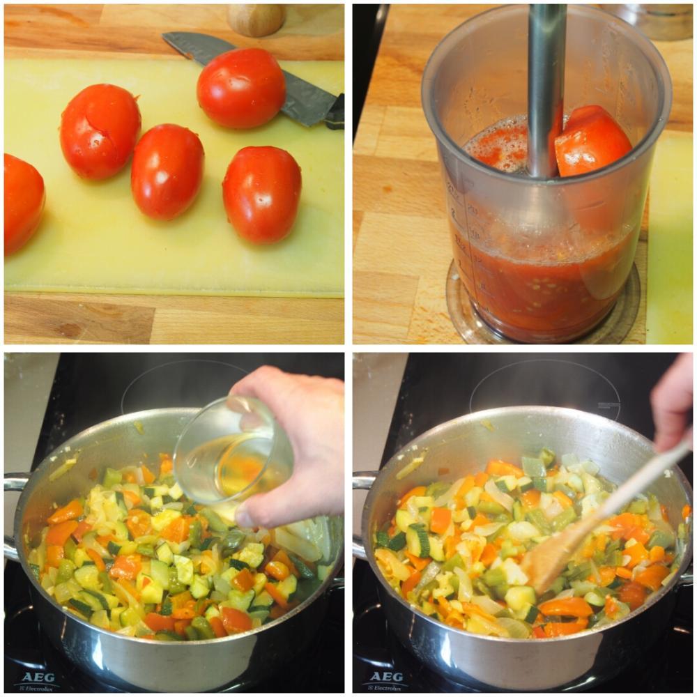 Pisto con huevo y crujiente de jamón - Paso 3