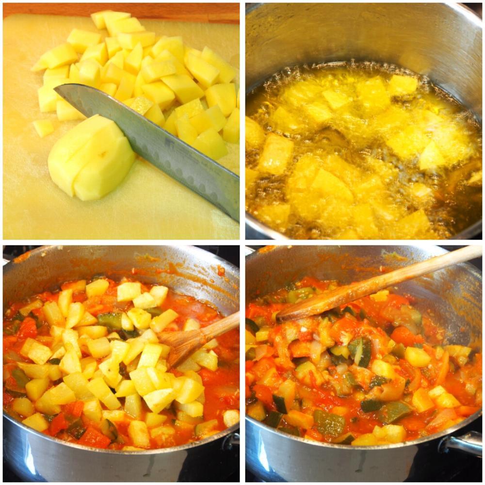Pisto con huevo y crujiente de jamón - Paso 5