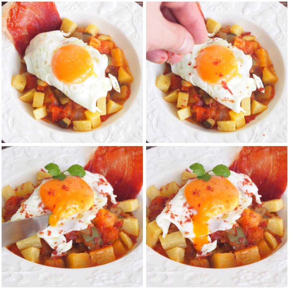 Pisto con huevo y crujiente de jamón - Paso 7