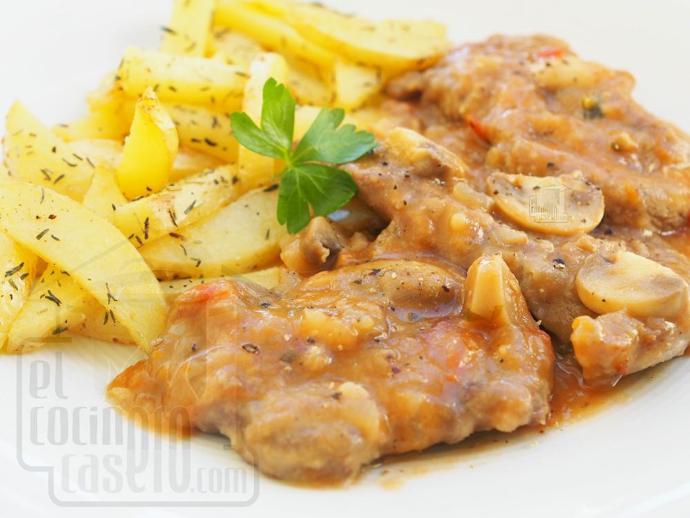 Filetes de ternera en salsa con champiñones - Paso 7