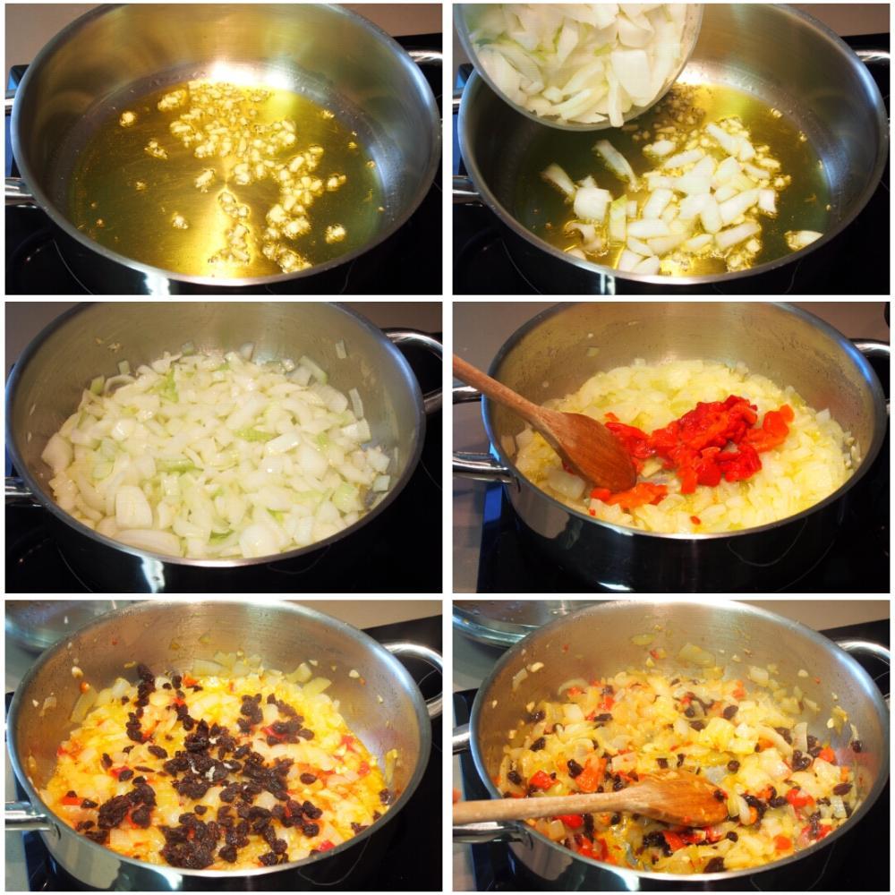 Empanada de bacalao y pasas - Paso 2