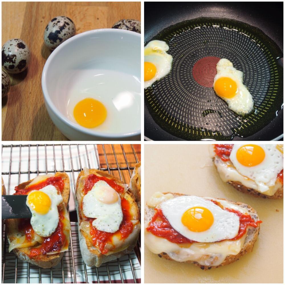 Tostas de sobrasada y huevo de codorniz - Paso 2