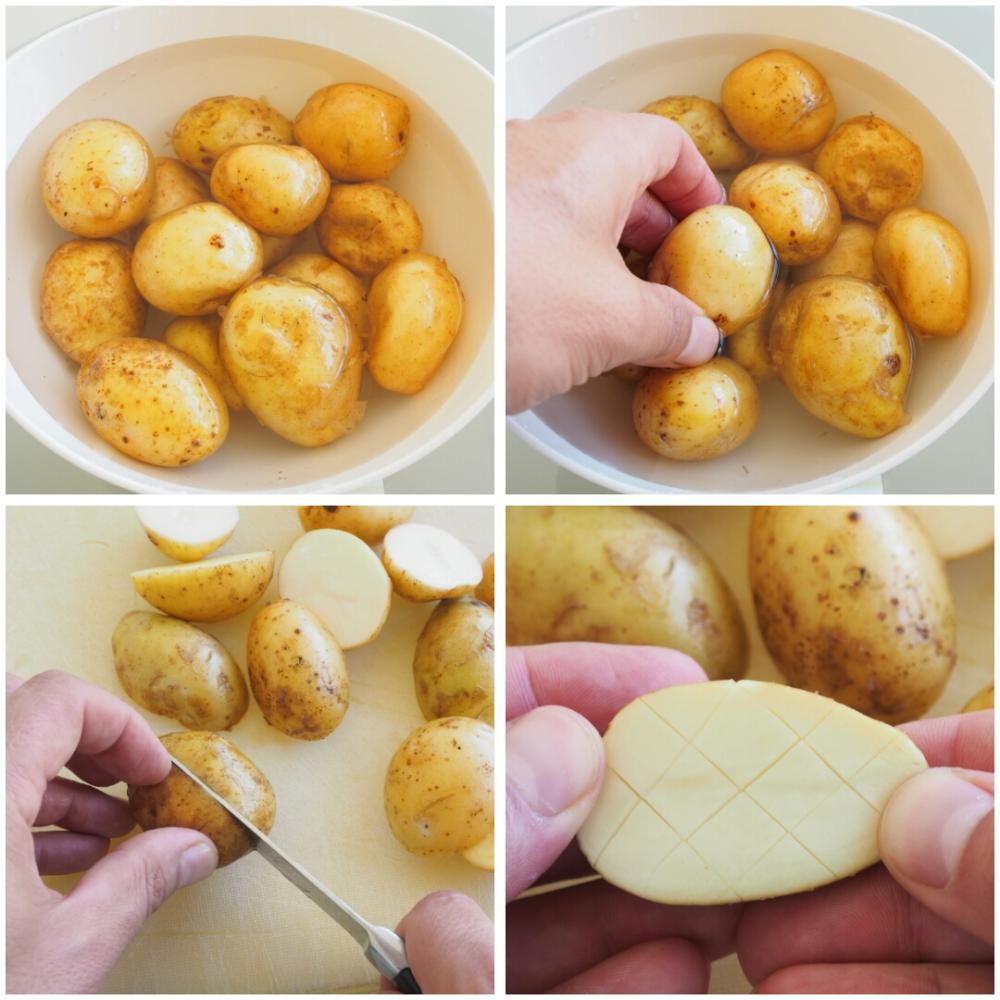 Patatas al horno con champiñones y tomates - Paso 1