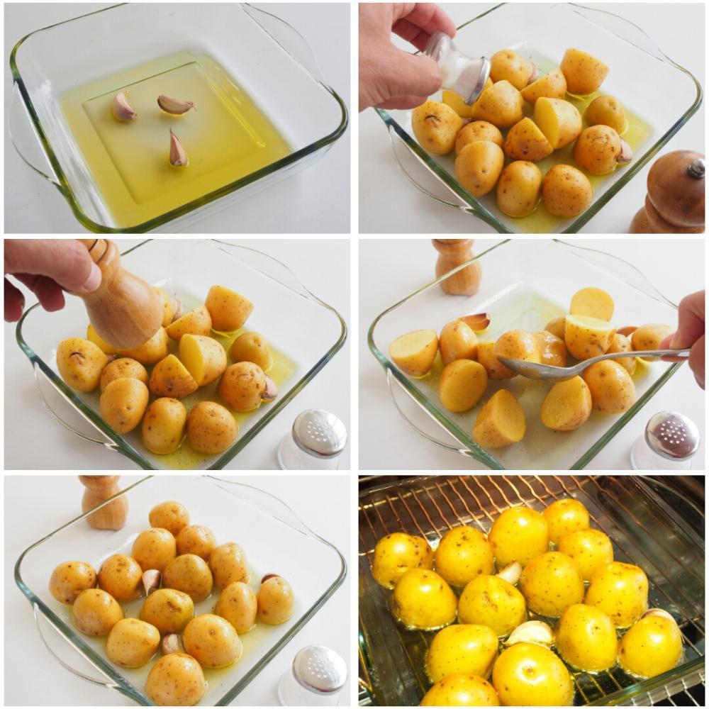 Patatas al horno con champiñones y tomates - Paso 2