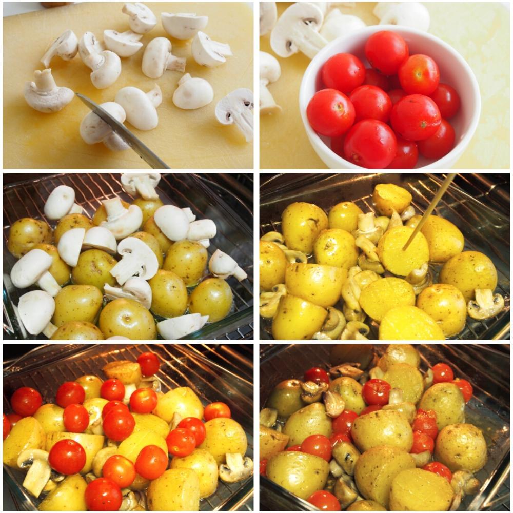 Patatas al horno con champiñones y tomates - Paso 3