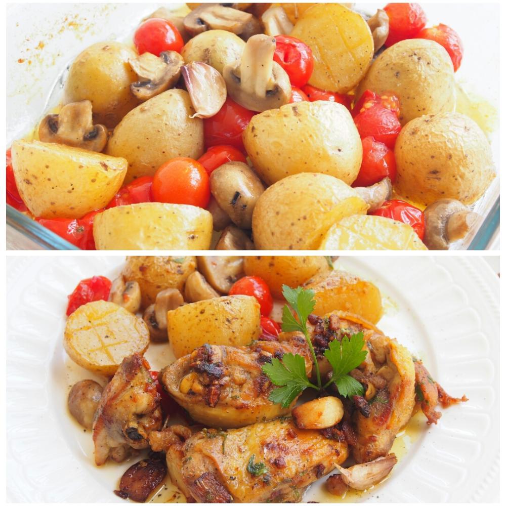 Patatas al horno con champiñones y tomates - Paso 4