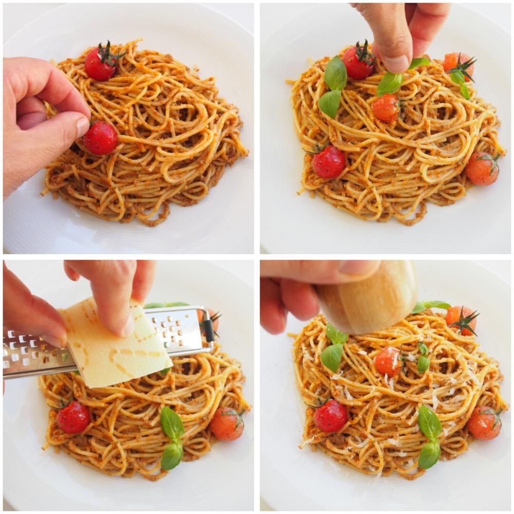 Spaghetti con pesto rosso - Paso 4