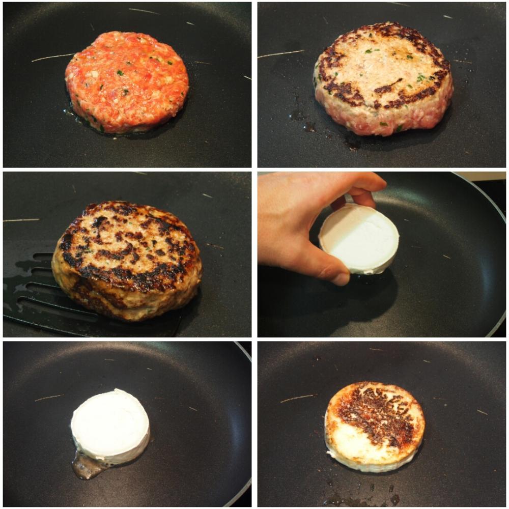 Hamburguesa con queso de cabra y cebolla caramelizada - Paso 3
