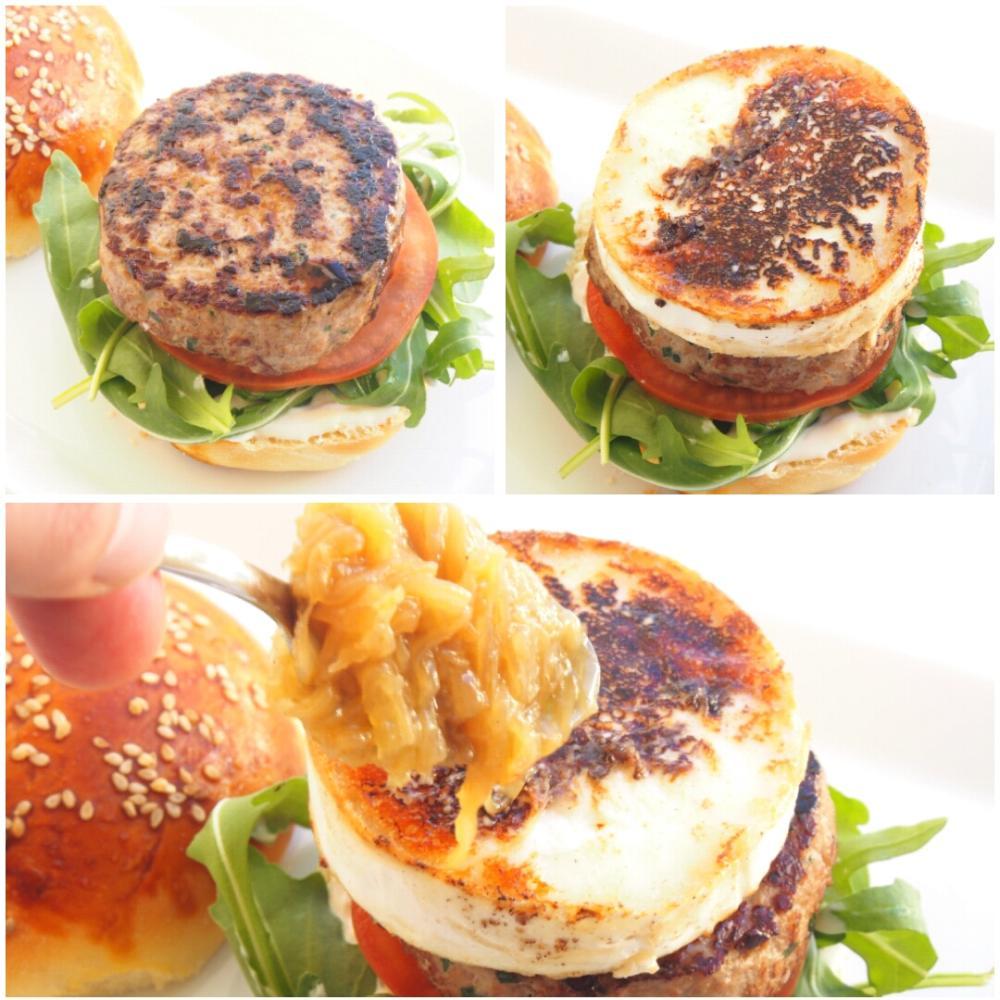 Hamburguesa con queso de cabra y cebolla caramelizada - Paso 5