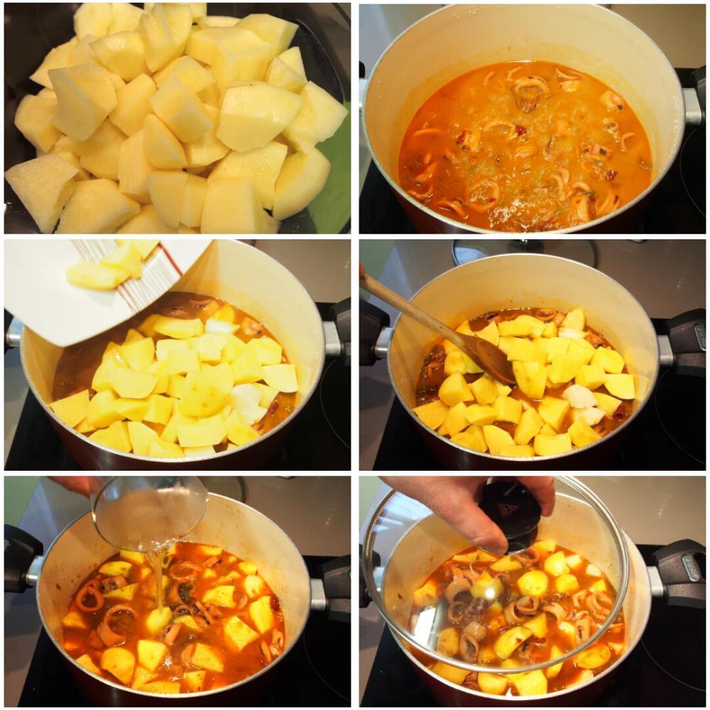 Calamares guisados con patatas - Paso 7