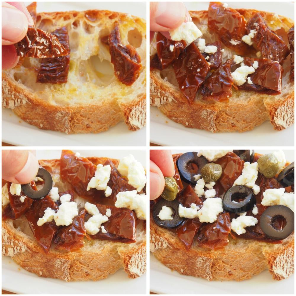 Tosta de tomates secos, alcaparras y queixo do Cebreiro - Paso 2