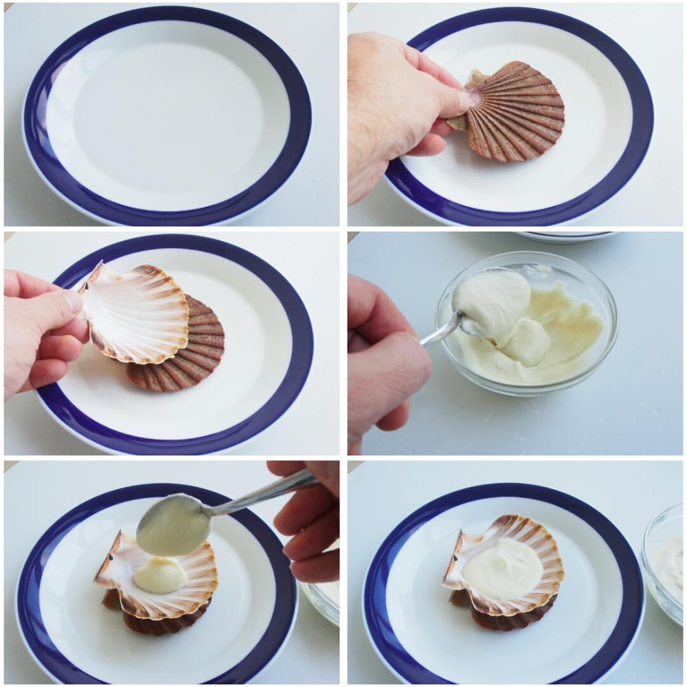 Vieiras a la plancha sobre crema de coliflor, pasas y piñones  - Paso 7