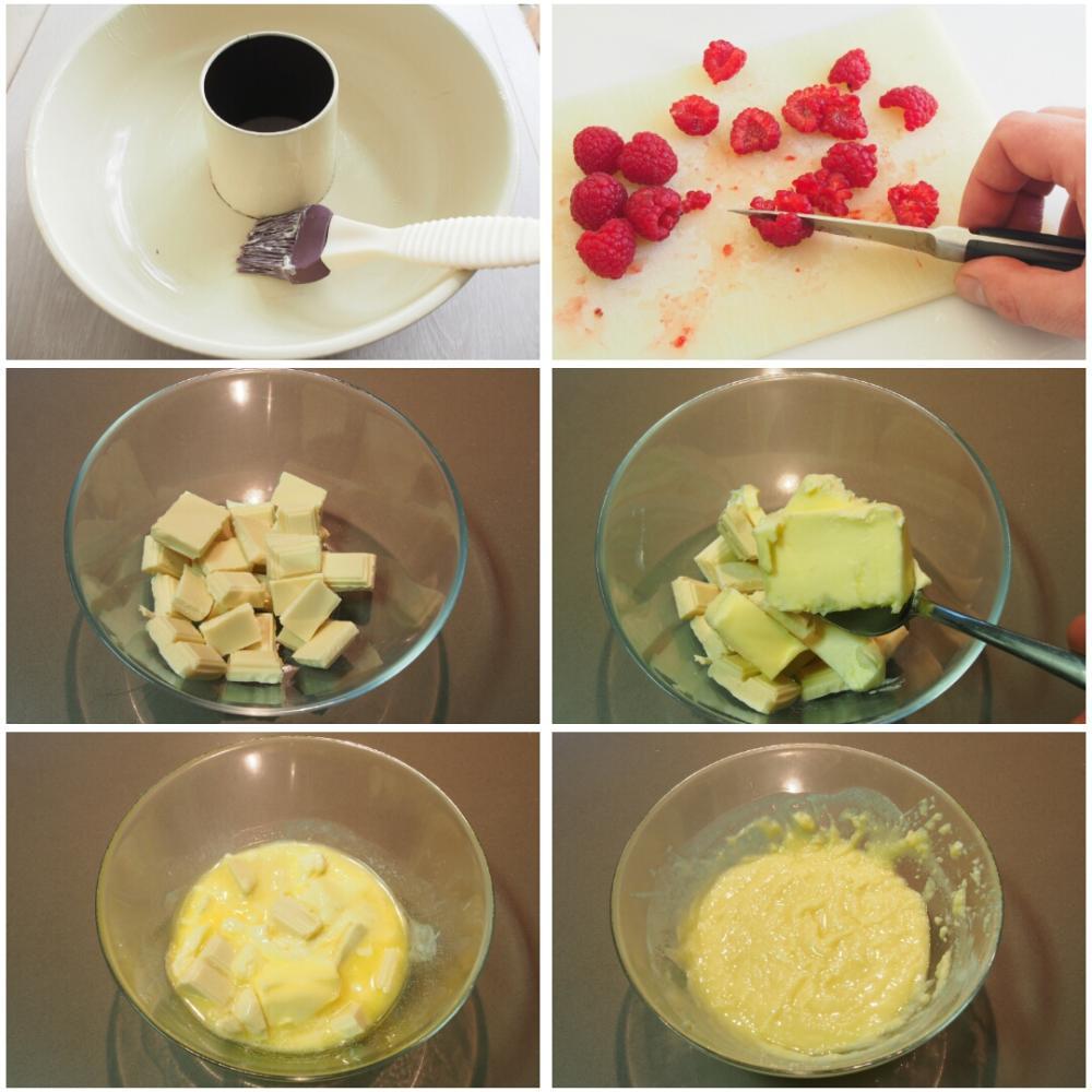 Bizcocho de chocolate blanco y frambuesas - Paso 1