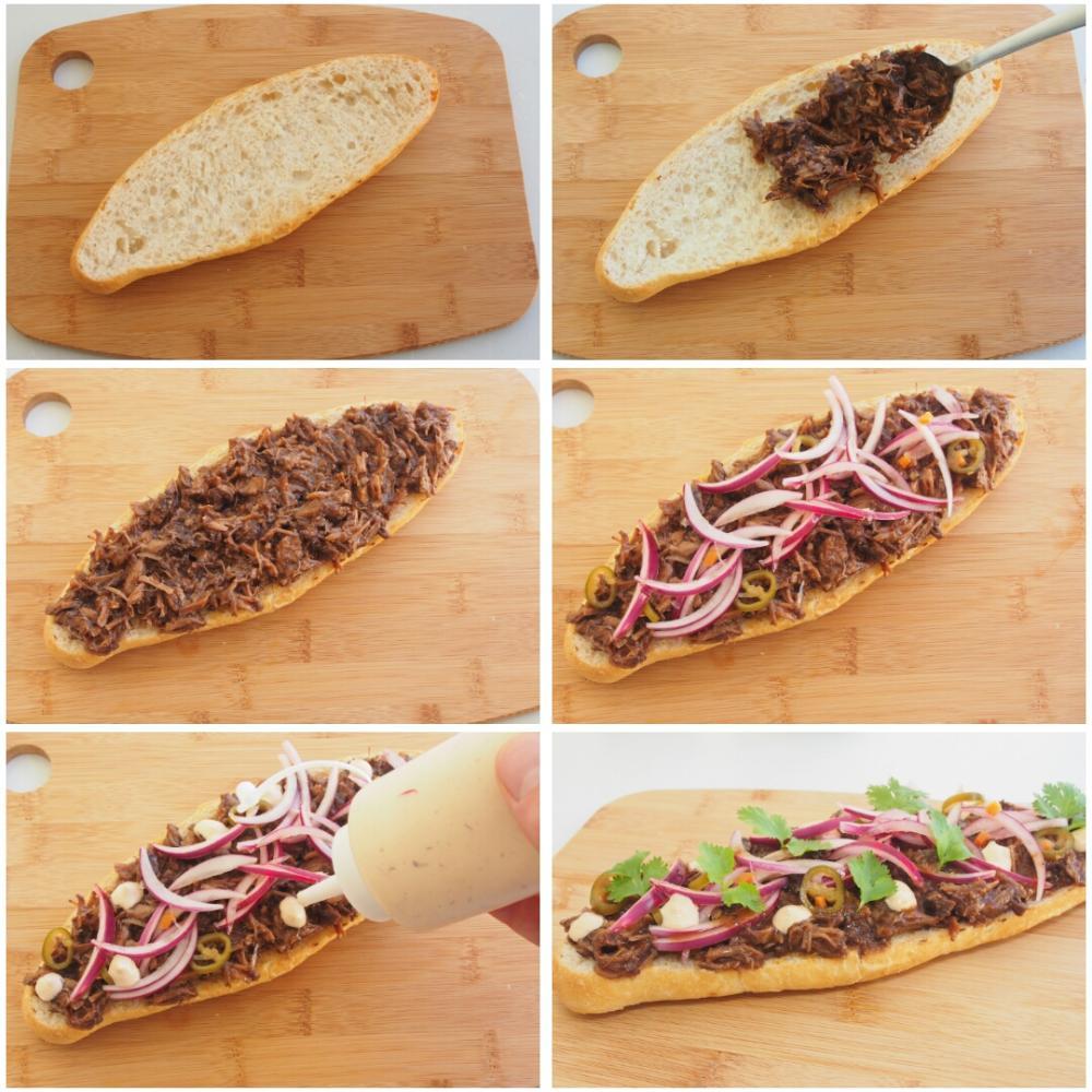 Tosta de carrilleras, cebolla encurtida, cilantro y mayonesa de chipotle - Paso 7