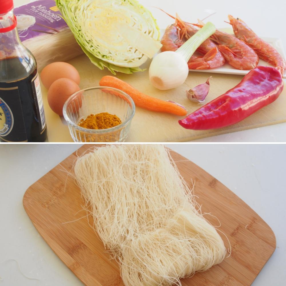 Noodles de arroz fritos con curry y gambas - Paso 1