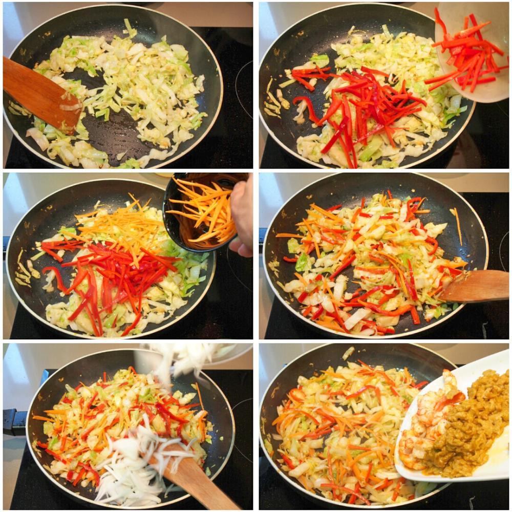 Noodles de arroz fritos con curry y gambas - Paso 7