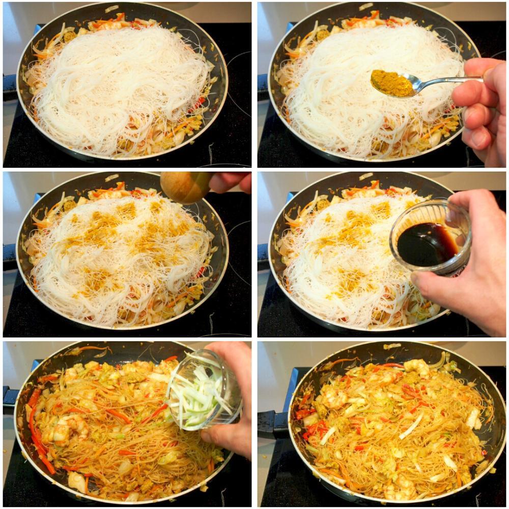 Noodles de arroz fritos con curry y gambas - Paso 8