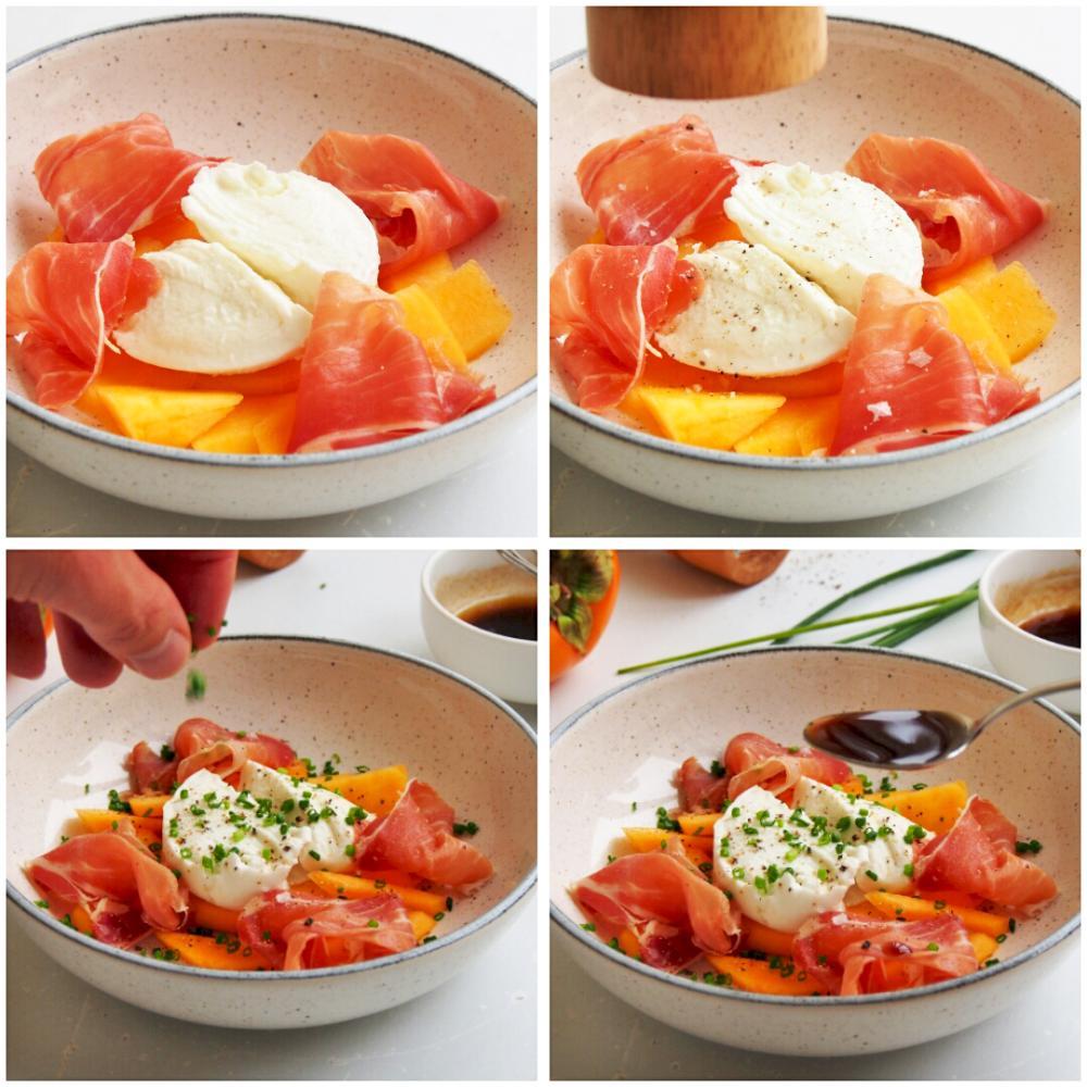 Ensalada de caqui persimon, mozzarella y jamón serrano - Paso 4