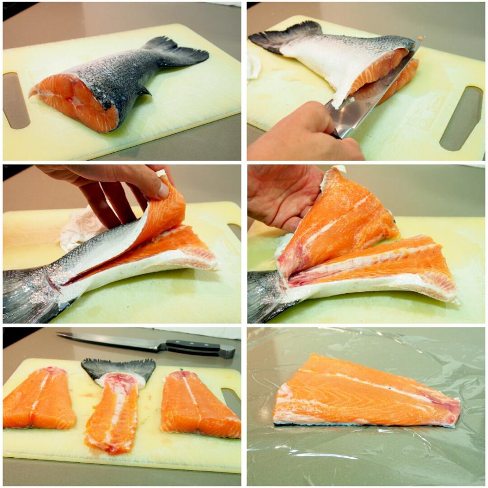 Salmón marinado con sal y azúcar - Paso 2
