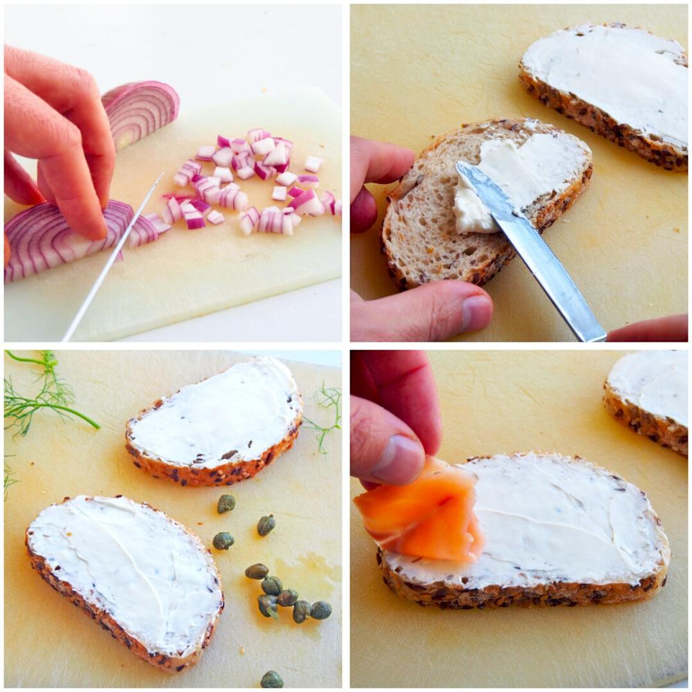 Tostas de salmón marinado, creme fraiche y eneldo - Paso 3