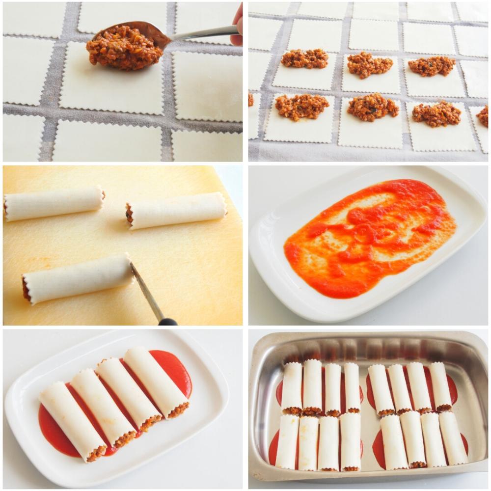 Canelones de carne picada y bechamel - Paso 6