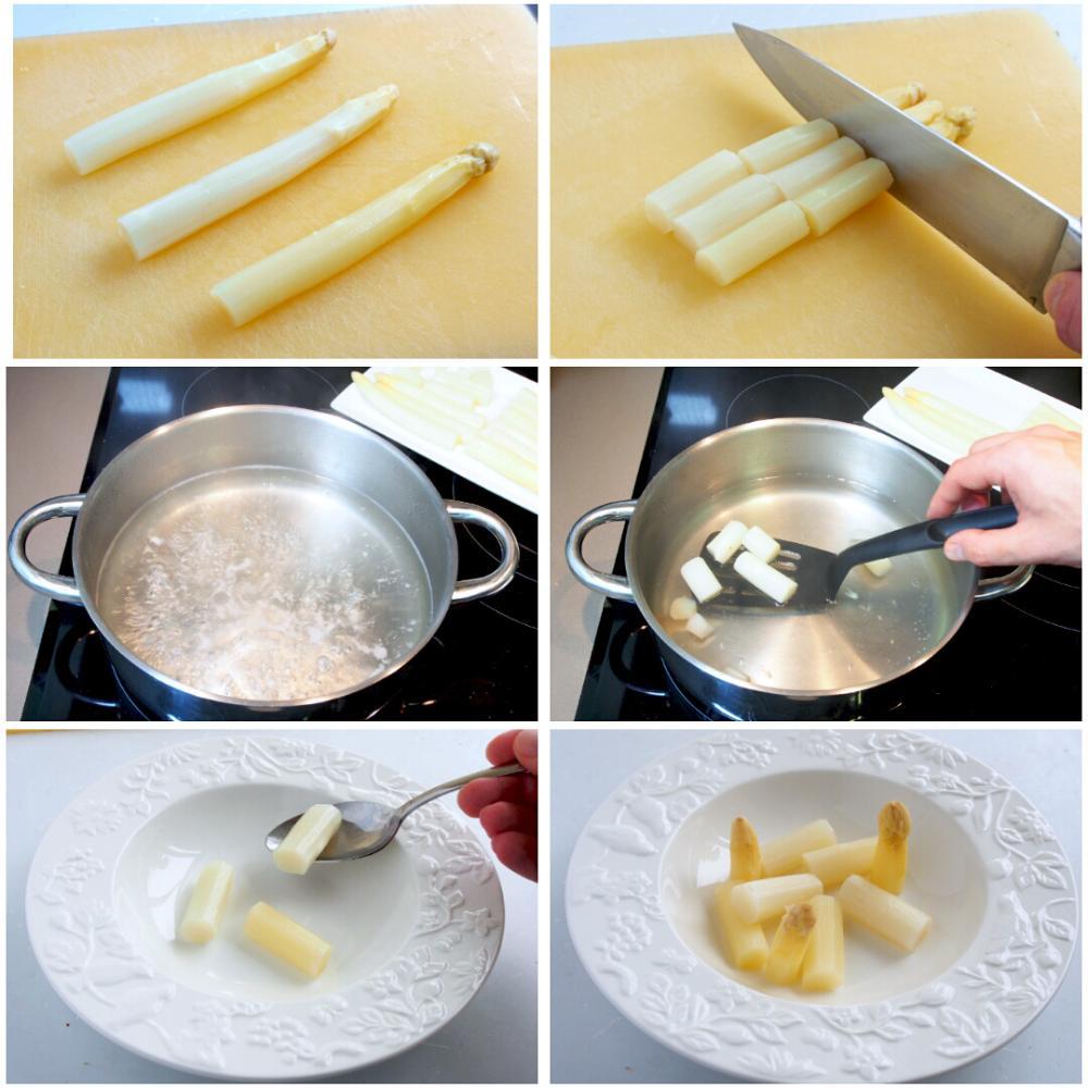 Espárragos blancos con huevo escalfado  - Paso 2
