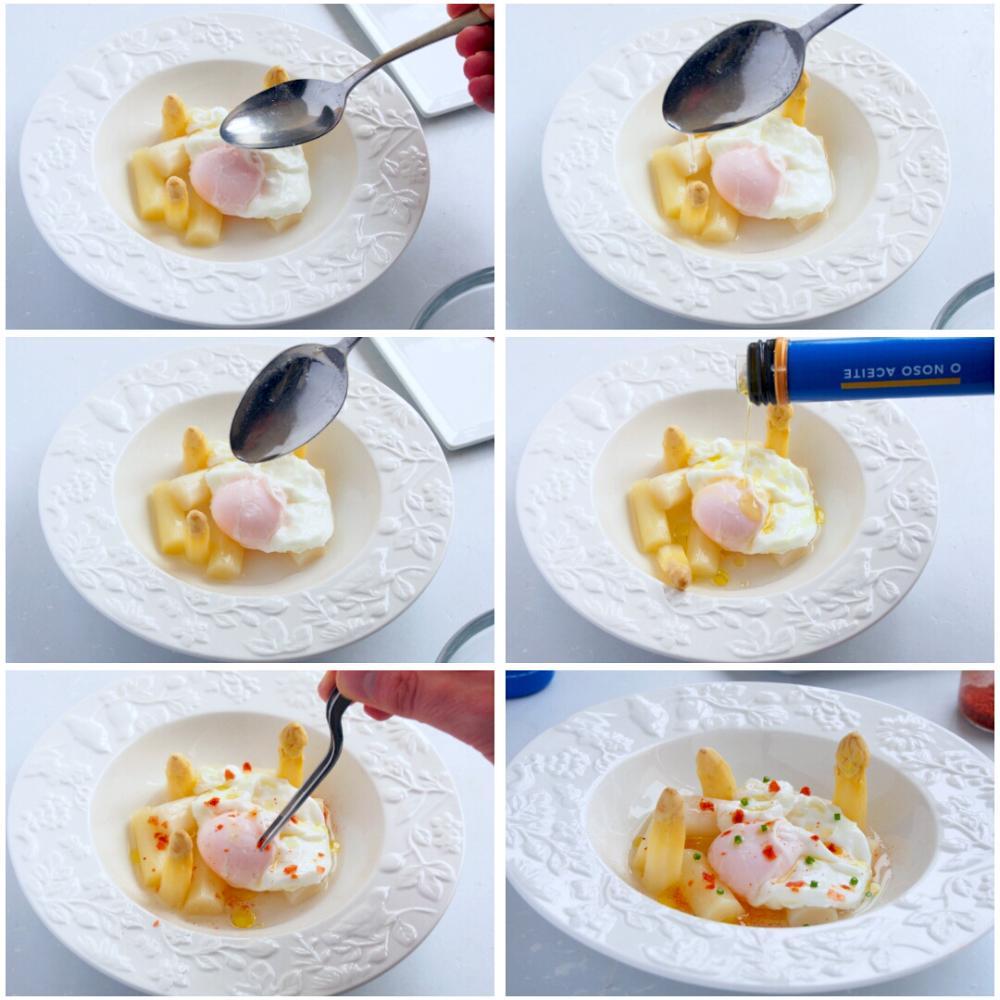 Espárragos blancos con huevo escalfado  - Paso 4