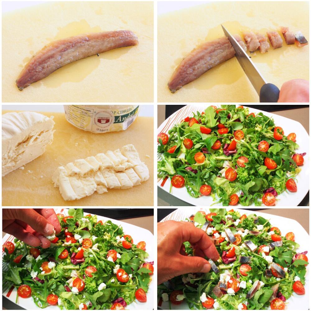 Ensalada de sardina ahumada y Queixo do Cebreiro - Paso 7