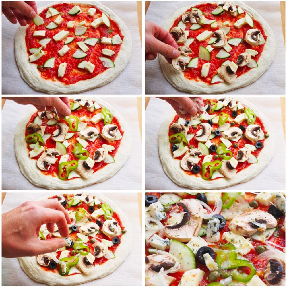 Pizza vegetal con queso azul - Paso 4